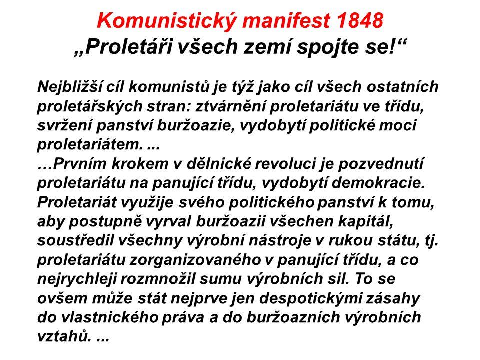 """Komunistický manifest 1848 """"Proletáři všech zemí spojte se!"""