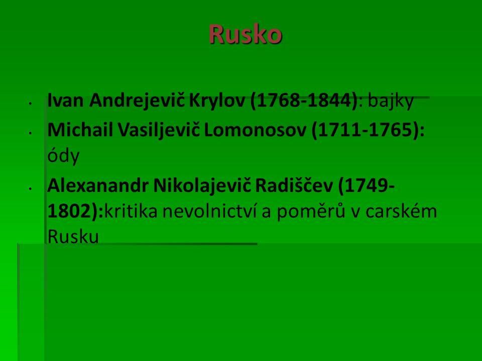 Rusko Ivan Andrejevič Krylov (1768-1844): bajky