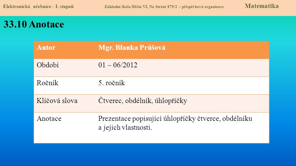 33.10 Anotace Autor Mgr. Blanka Průšová Období 01 – 06/2012 Ročník