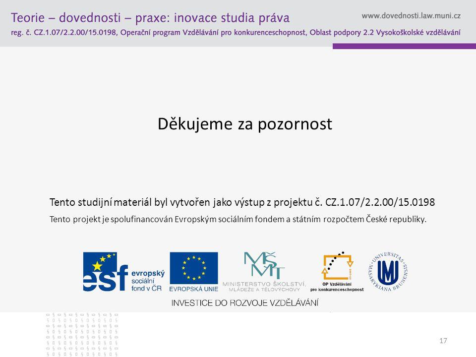 Děkujeme za pozornost Tento studijní materiál byl vytvořen jako výstup z projektu č. CZ.1.07/2.2.00/15.0198.