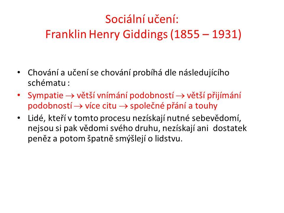 Sociální učení: Franklin Henry Giddings (1855 – 1931)