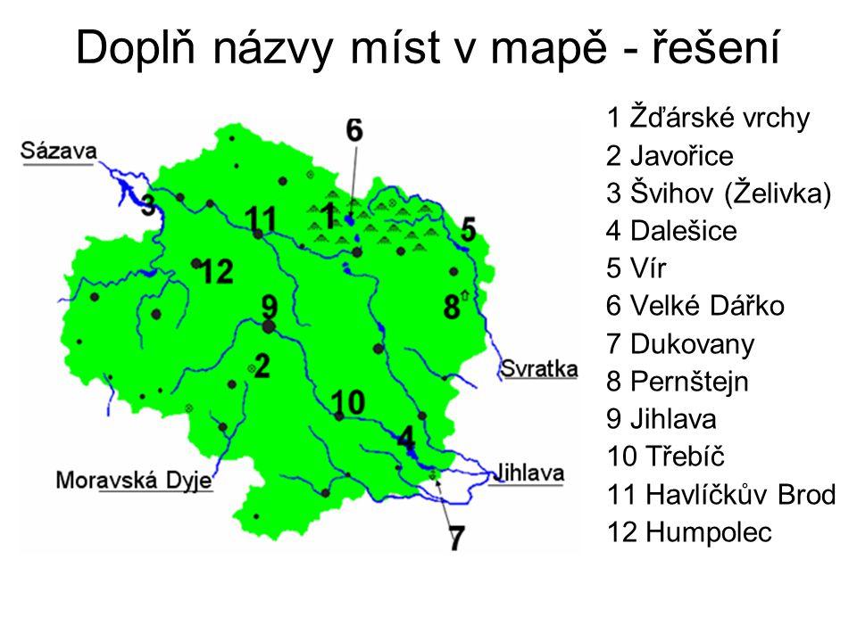 Doplň názvy míst v mapě - řešení
