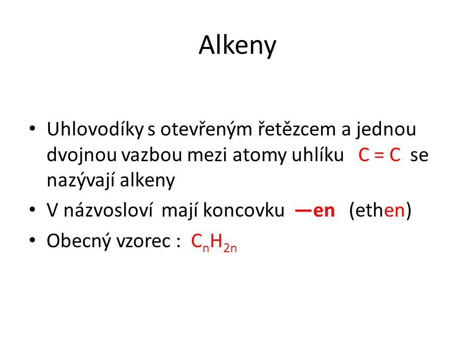 Alkeny Uhlovodíky s otevřeným řetězcem a jednou dvojnou vazbou mezi atomy uhlíku C = C se nazývají alkeny.