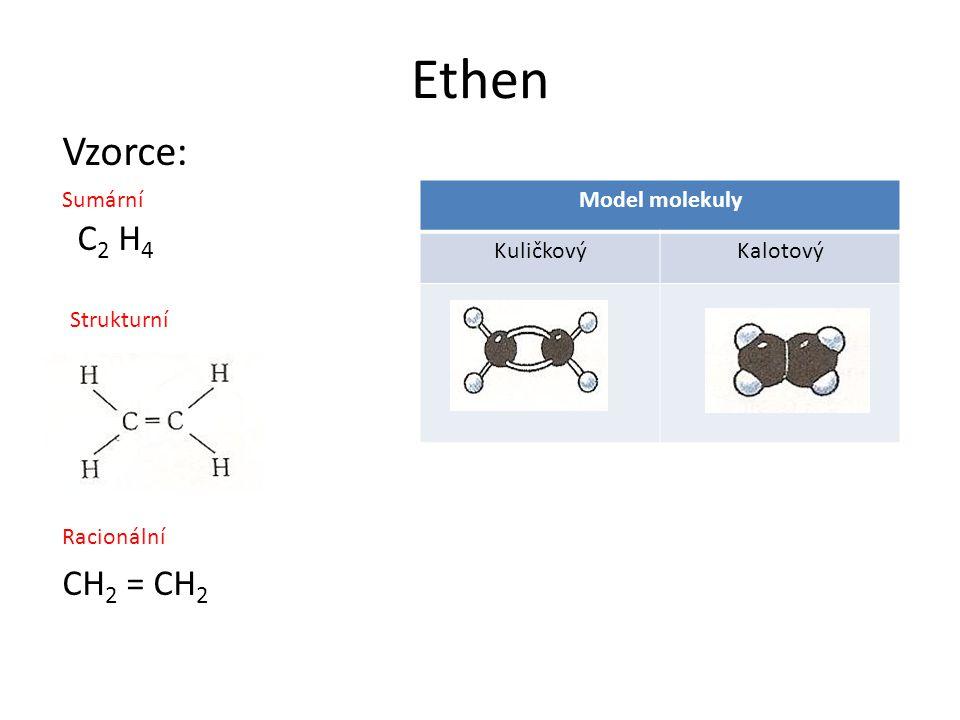 Ethen Vzorce: C2 H4 CH2 = CH2 Sumární Model molekuly Kuličkový