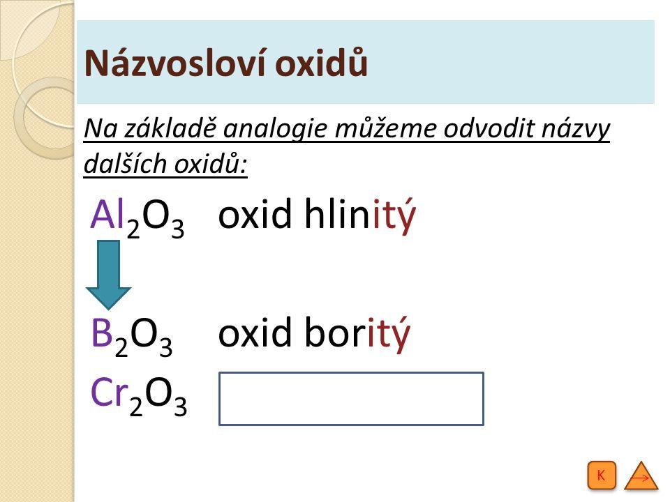 Al2O3 oxid hlinitý B2O3 oxid boritý Cr2O3 oxid chromitý