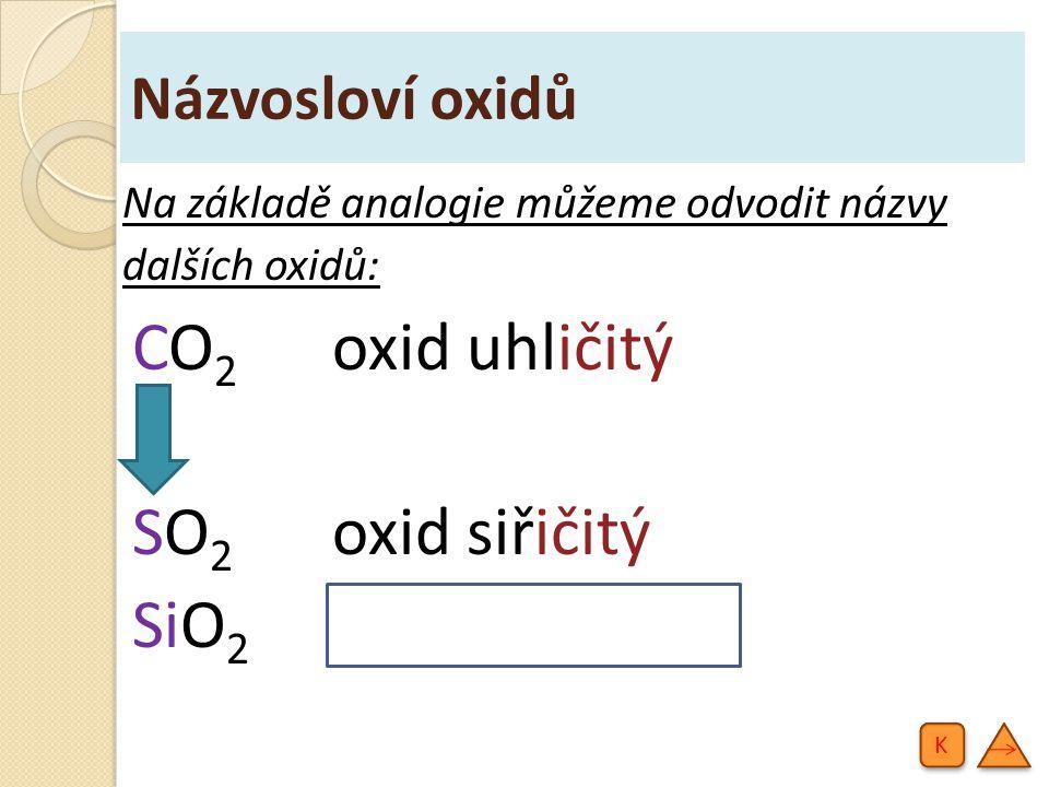 CO2 oxid uhličitý SO2 oxid siřičitý SiO2 oxid křemičitý