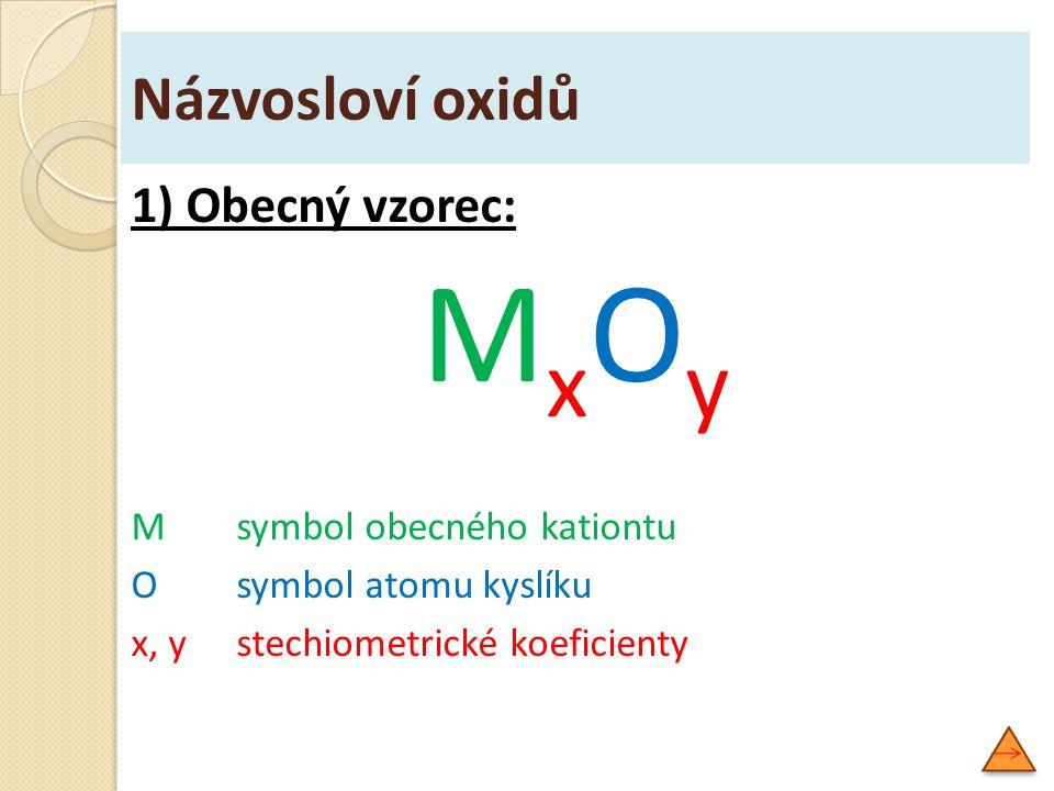 MxOy Názvosloví oxidů 1) Obecný vzorec: M symbol obecného kationtu