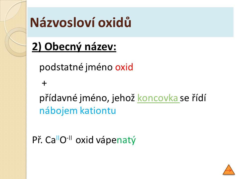 podstatné jméno oxid Názvosloví oxidů 2) Obecný název: +