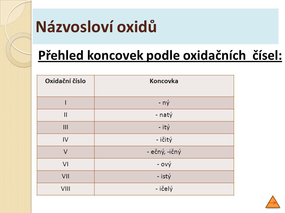 Názvosloví oxidů Přehled koncovek podle oxidačních čísel: