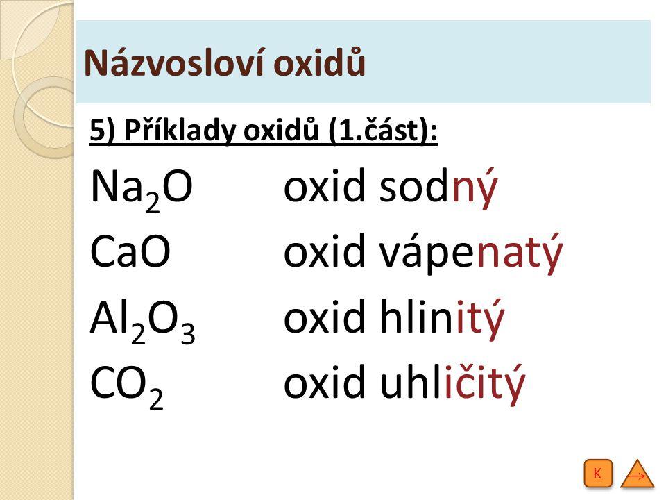 Na2O oxid sodný CaO oxid vápenatý Al2O3 oxid hlinitý CO2 oxid uhličitý