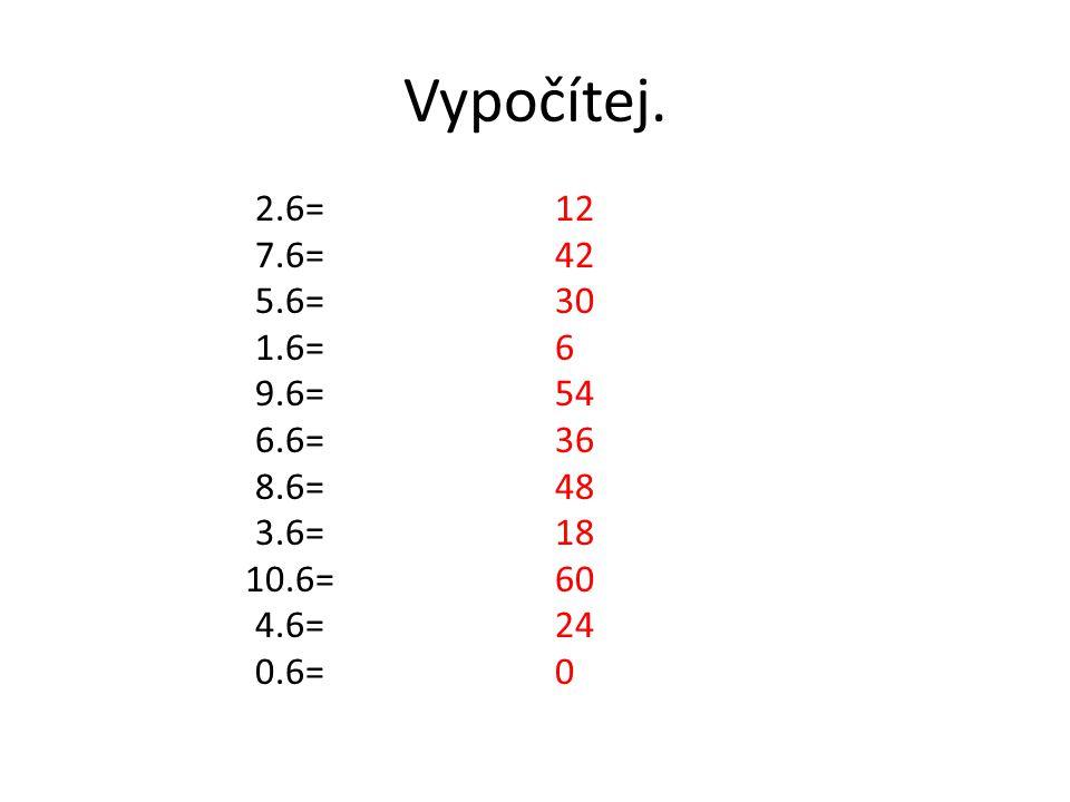Vypočítej. 2.6= 7.6= 5.6= 1.6= 9.6= 6.6= 8.6= 3.6= 10.6= 4.6= 0.6=