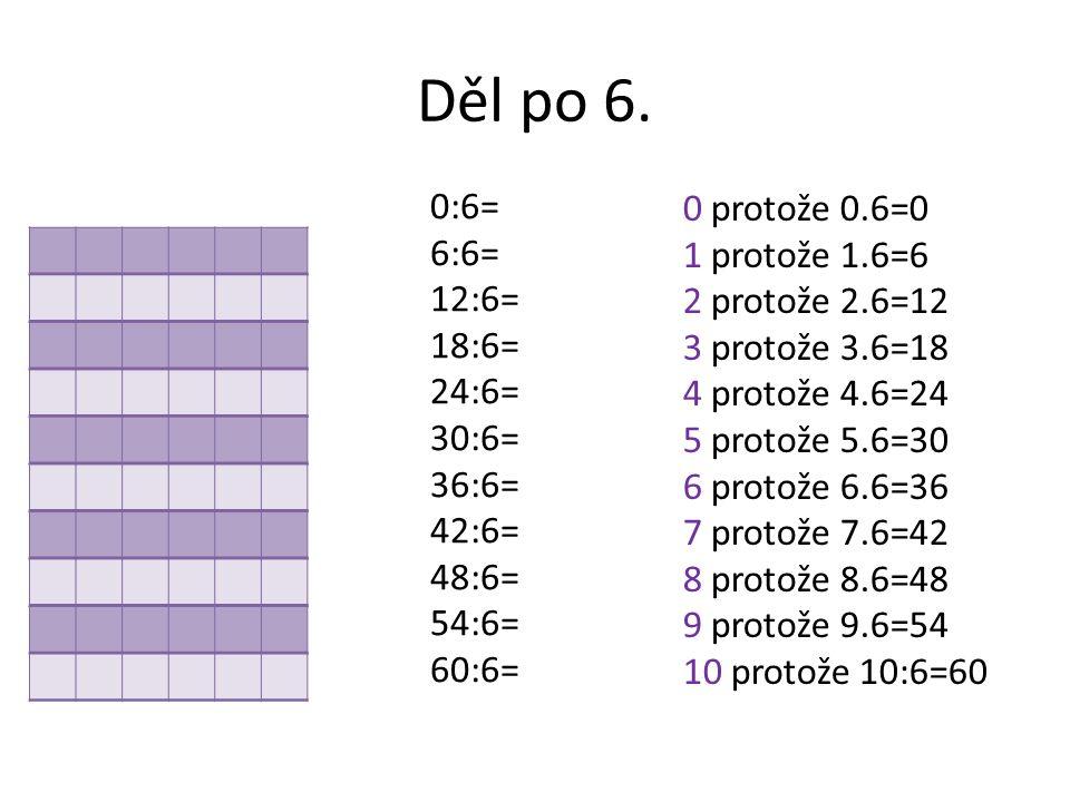 Děl po 6. 0:6= 6:6= 12:6= 18:6= 24:6= 30:6= 36:6= 42:6= 48:6= 54:6= 60:6=