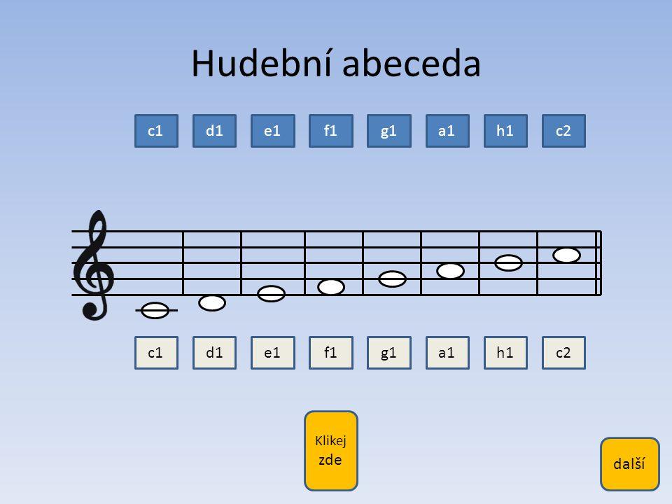 Hudební abeceda c1 d1 e1 f1 g1 a1 h1 c2 c1 d1 e1 f1 g1 a1 h1 c2 další