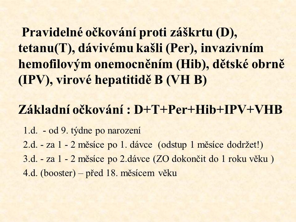 Základní očkování : D+T+Per+Hib+IPV+VHB