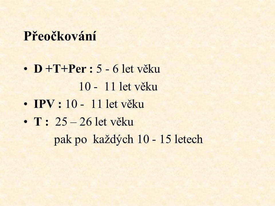 Přeočkování D +T+Per : 5 - 6 let věku 10 - 11 let věku