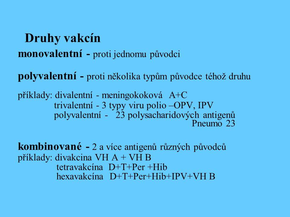 Druhy vakcín monovalentní - proti jednomu původci