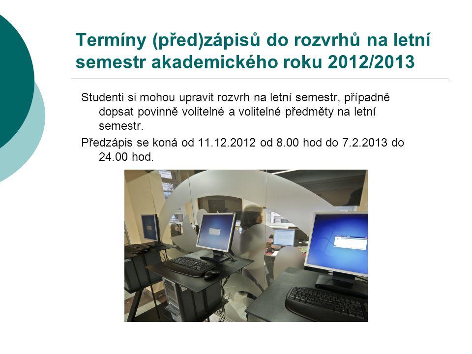 Termíny (před)zápisů do rozvrhů na letní semestr akademického roku 2012/2013