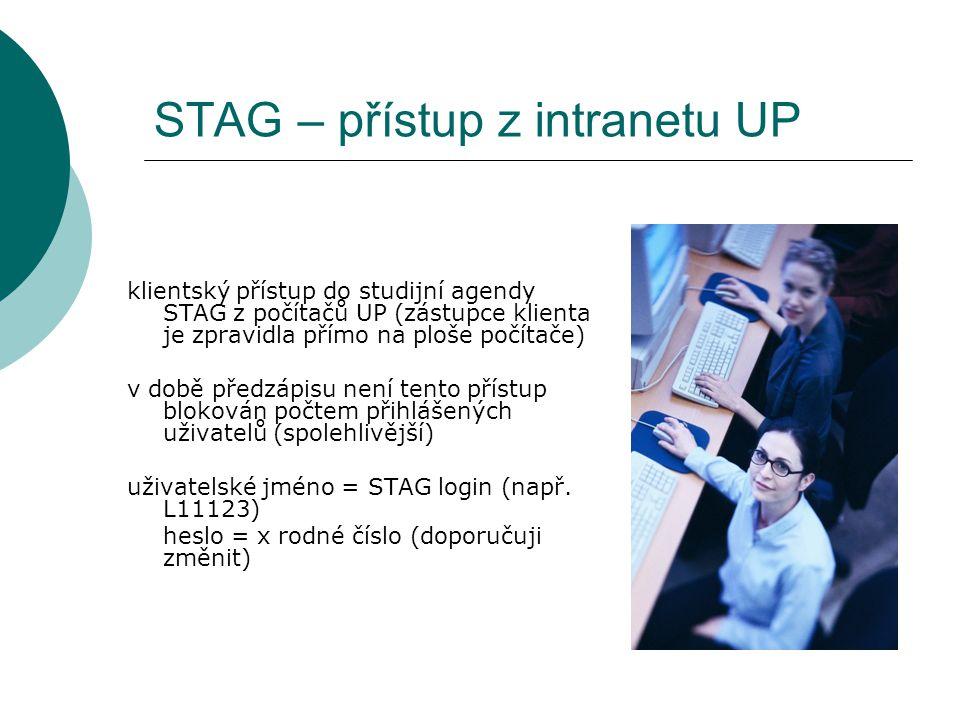 STAG – přístup z intranetu UP