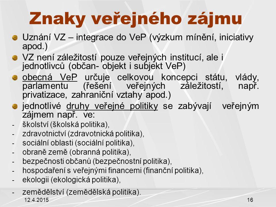 Znaky veřejného zájmu Uznání VZ – integrace do VeP (výzkum mínění, iniciativy apod.)