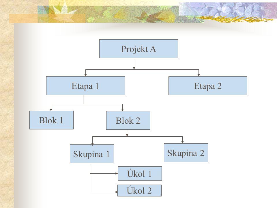 Projekt A Etapa 1 Etapa 2 Blok 1 Blok 2 Skupina 1 Skupina 2 Úkol 1 Úkol 2