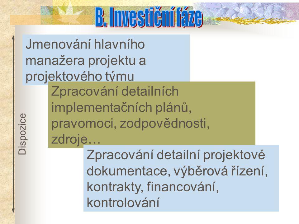 B. Investiční fáze Jmenování hlavního manažera projektu a projektového týmu.