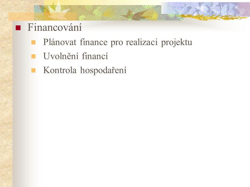 Financování Plánovat finance pro realizaci projektu Uvolnění financí