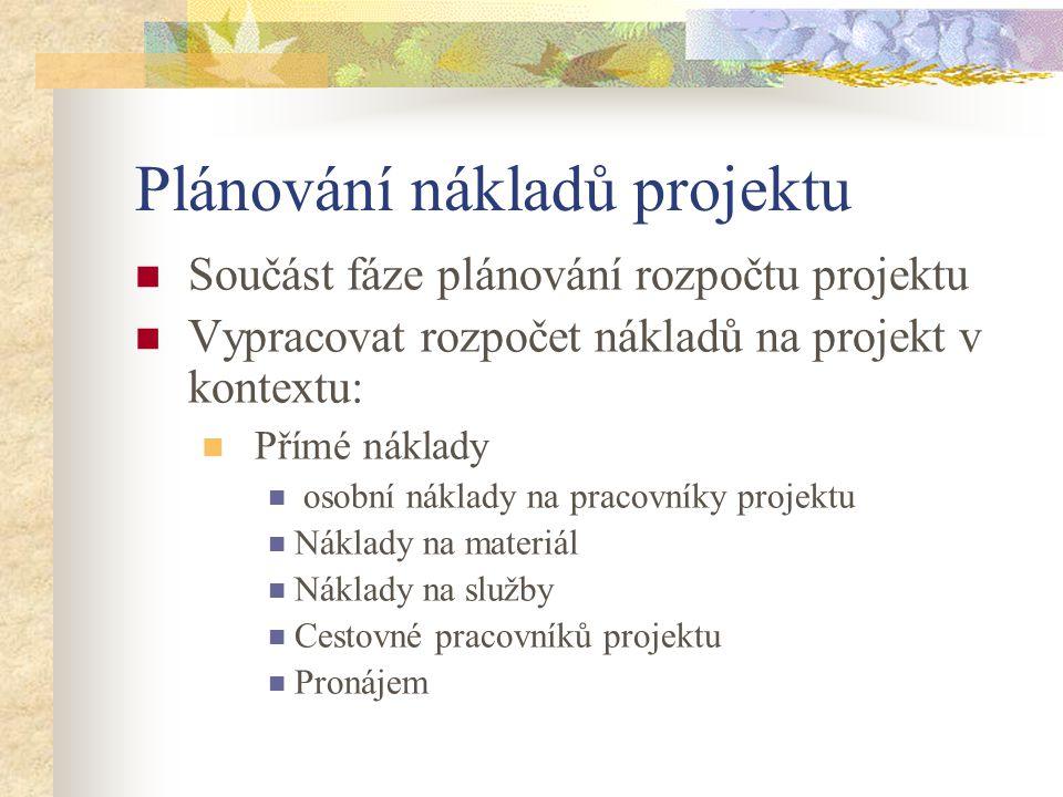 Plánování nákladů projektu