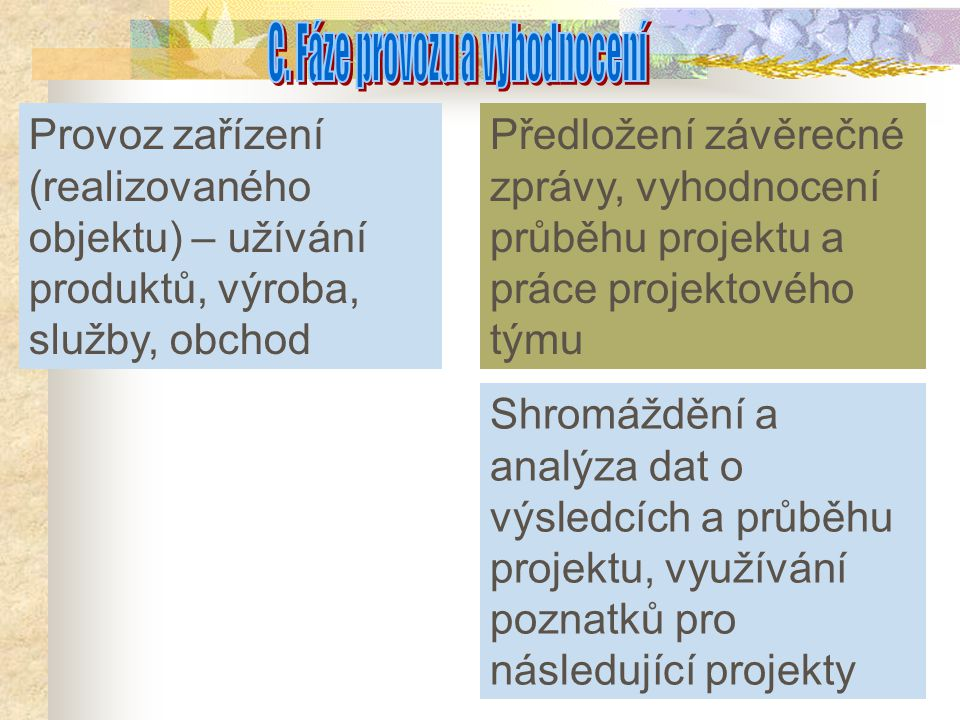 C. Fáze provozu a vyhodnocení