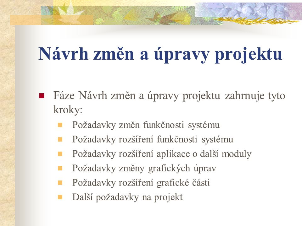 Návrh změn a úpravy projektu