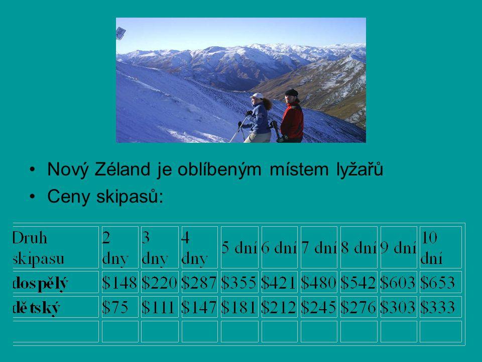 Nový Zéland je oblíbeným místem lyžařů