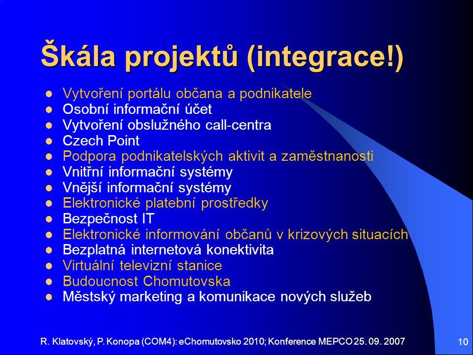 Škála projektů (integrace!)