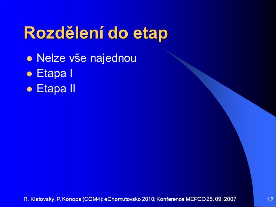 Rozdělení do etap Nelze vše najednou Etapa I Etapa II