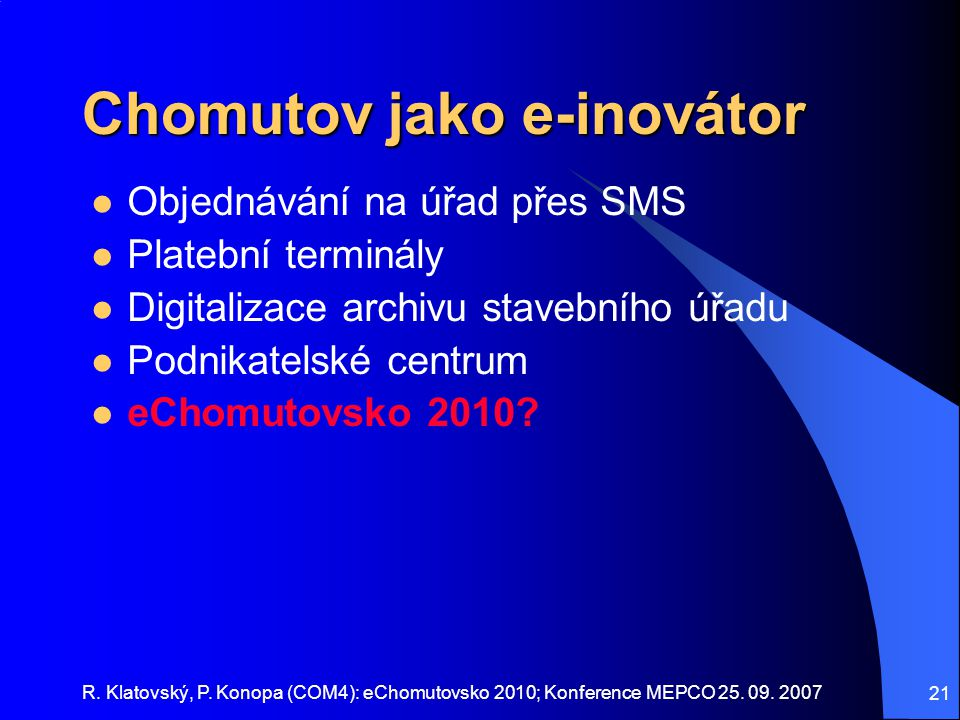 Chomutov jako e-inovátor
