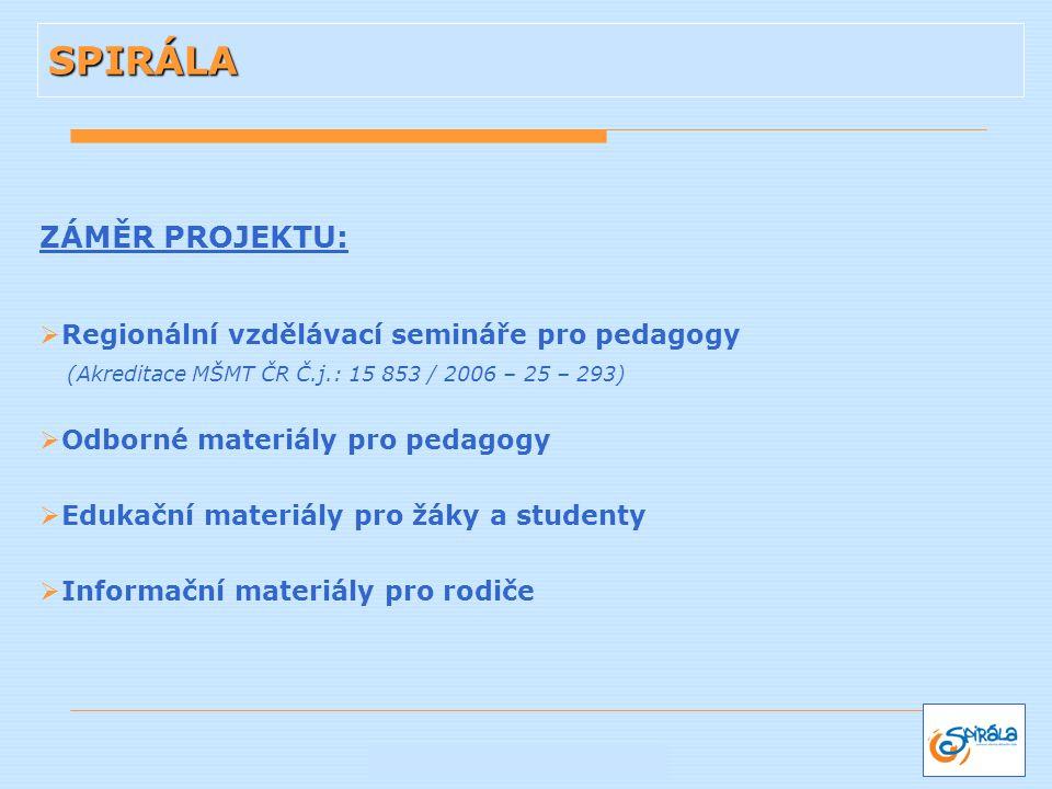 SPIRÁLA ZÁMĚR PROJEKTU: Regionální vzdělávací semináře pro pedagogy