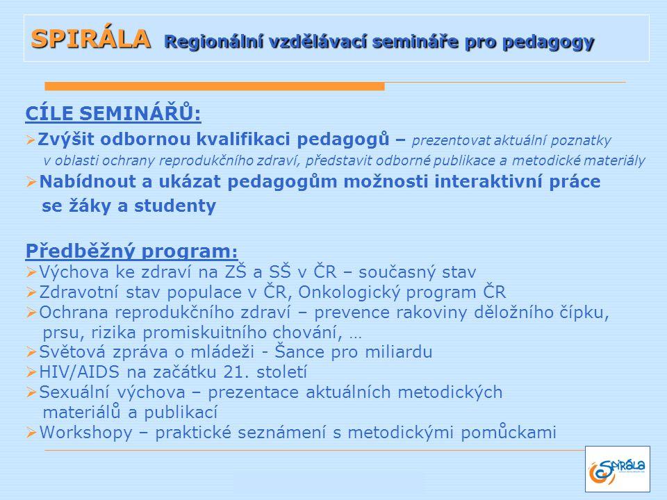 SPIRÁLA Regionální vzdělávací semináře pro pedagogy