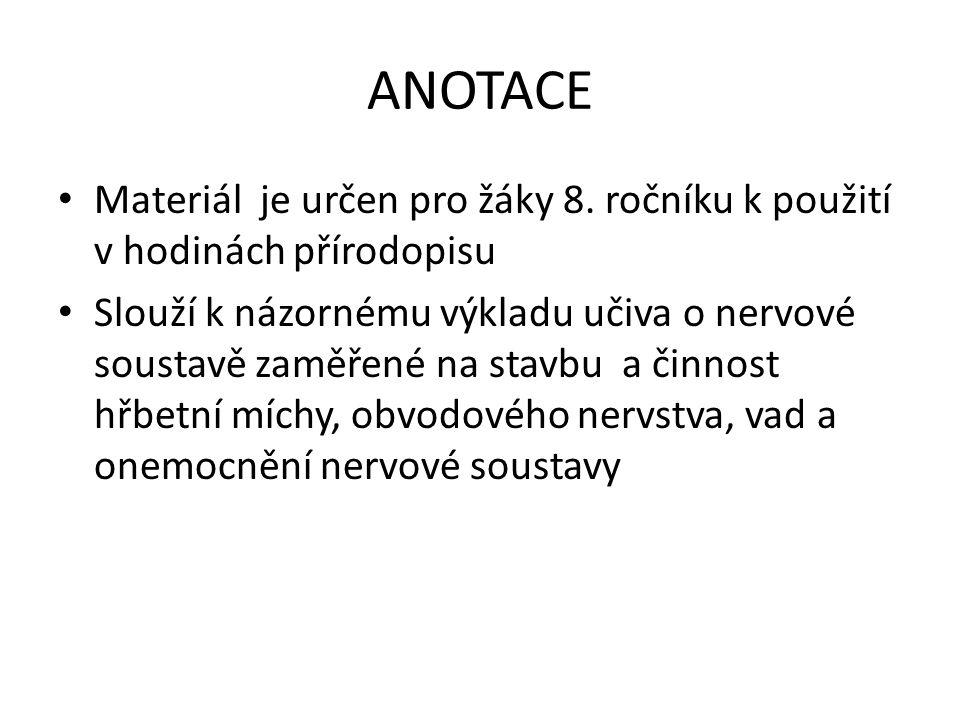 ANOTACE Materiál je určen pro žáky 8. ročníku k použití v hodinách přírodopisu.