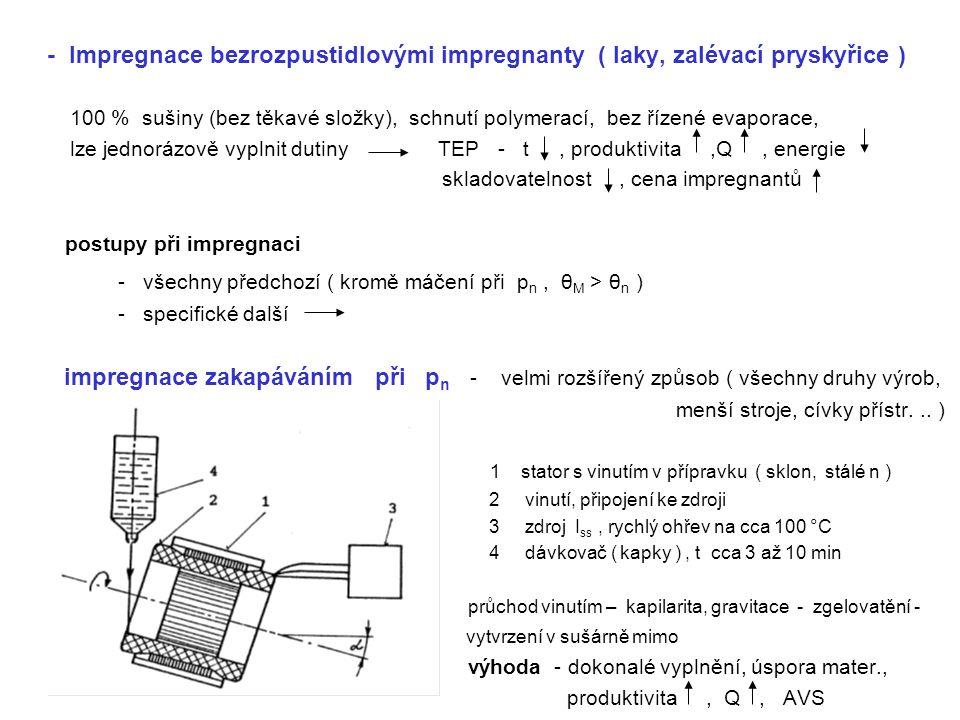 - Impregnace bezrozpustidlovými impregnanty ( laky, zalévací pryskyřice )