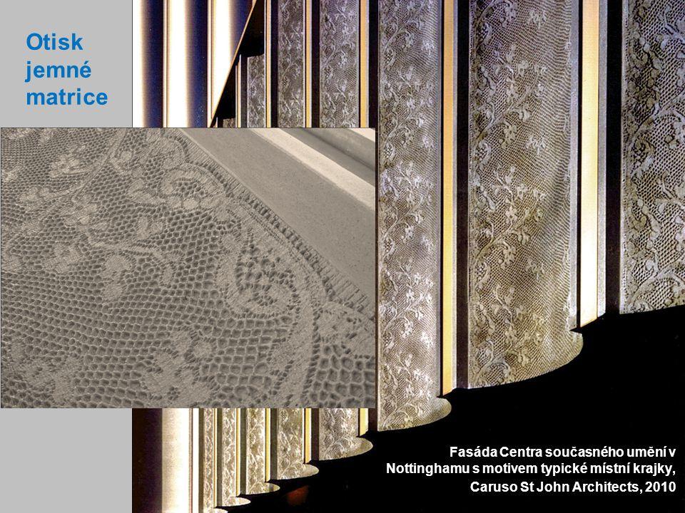Otisk jemné matrice Fasáda Centra současného umění v Nottinghamu s motivem typické místní krajky, Caruso St John Architects, 2010.