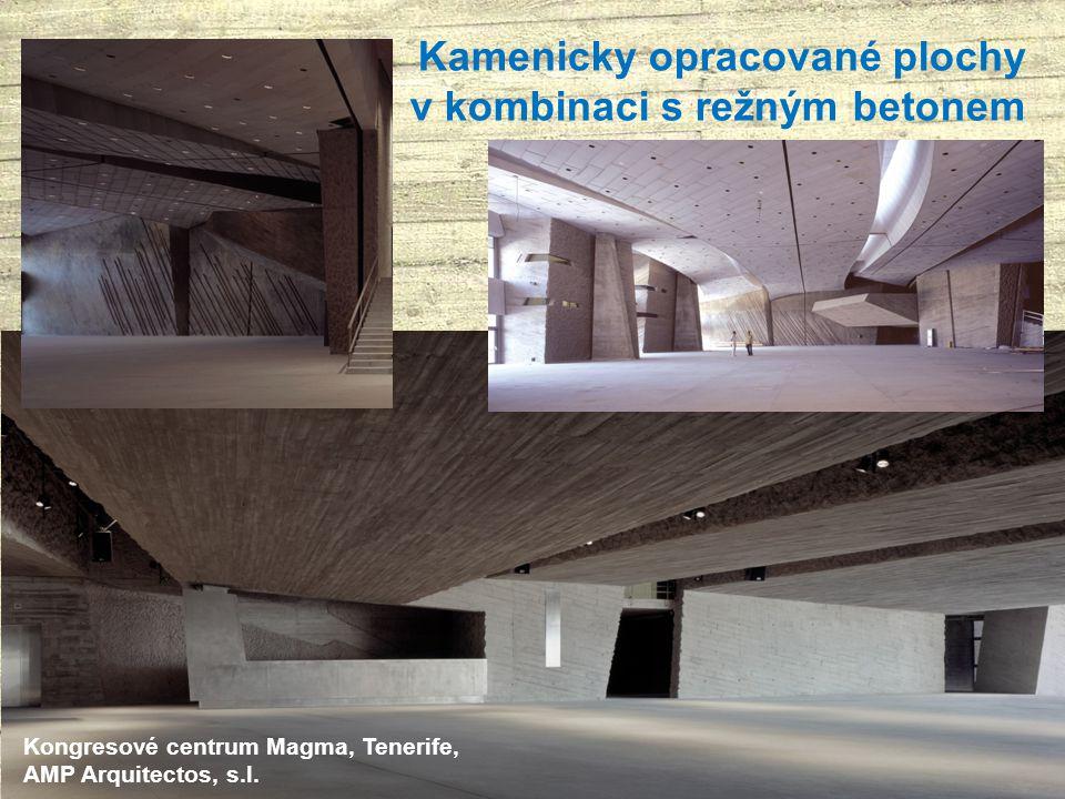 Kamenicky opracované plochy v kombinaci s režným betonem