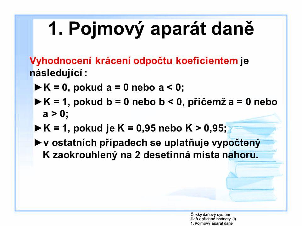 1. Pojmový aparát daně Vyhodnocení krácení odpočtu koeficientem je následující : K = 0, pokud a = 0 nebo a < 0;