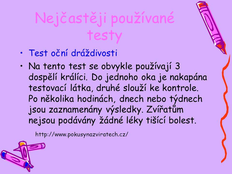 Nejčastěji používané testy
