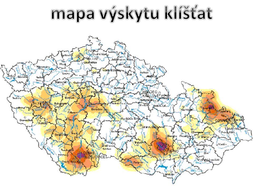 mapa výskytu klíšťat