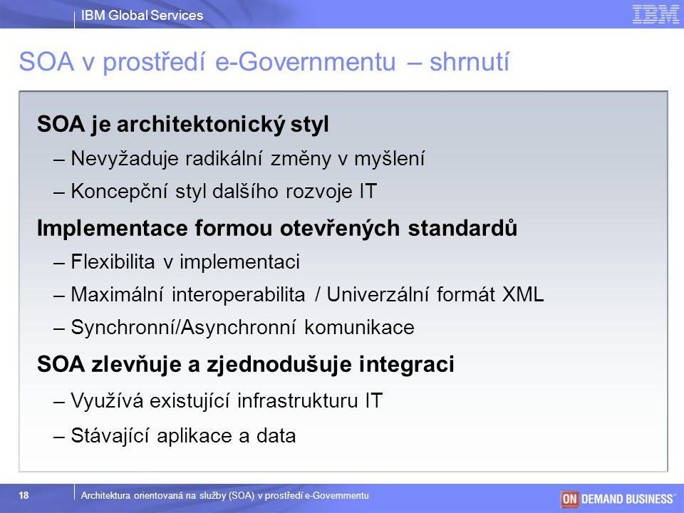 SOA v prostředí e-Governmentu – shrnutí