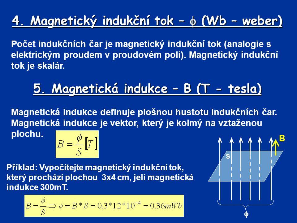 4. Magnetický indukční tok –  (Wb – weber)