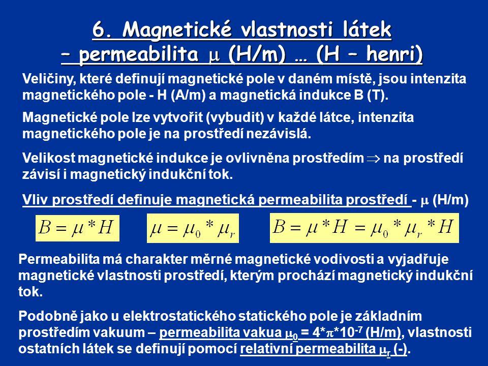 6. Magnetické vlastnosti látek – permeabilita  (H/m) … (H – henri)