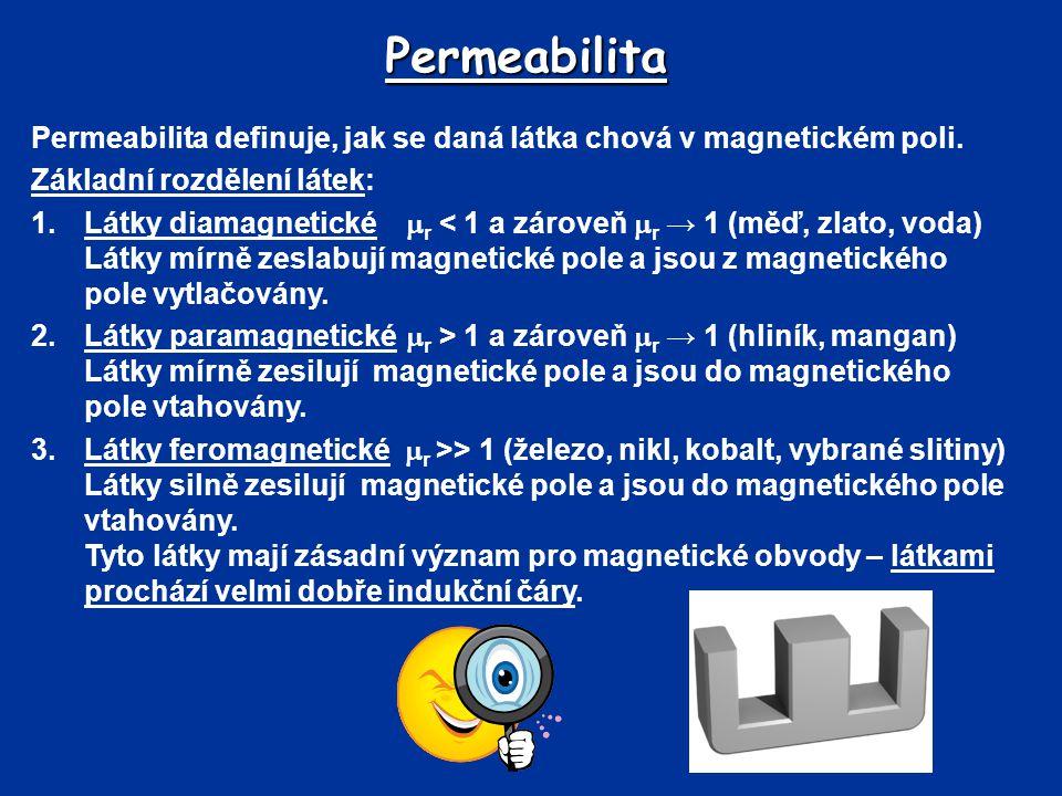 Permeabilita Permeabilita definuje, jak se daná látka chová v magnetickém poli. Základní rozdělení látek: