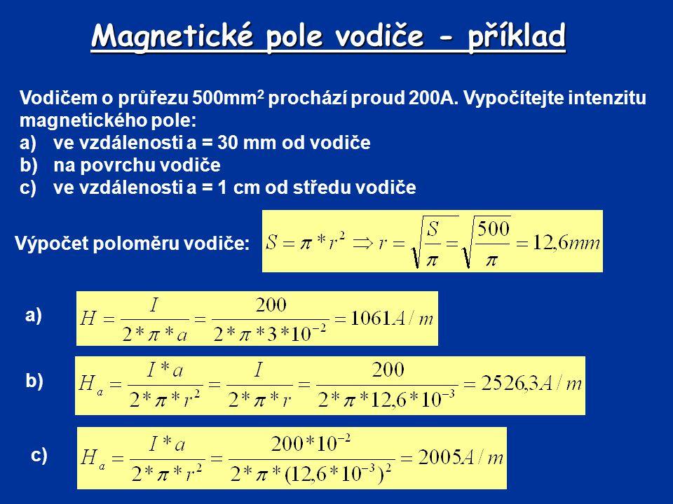Magnetické pole vodiče - příklad