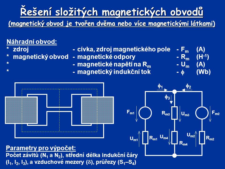 Řešení složitých magnetických obvodů (magnetický obvod je tvořen dvěma nebo více magnetickými látkami)