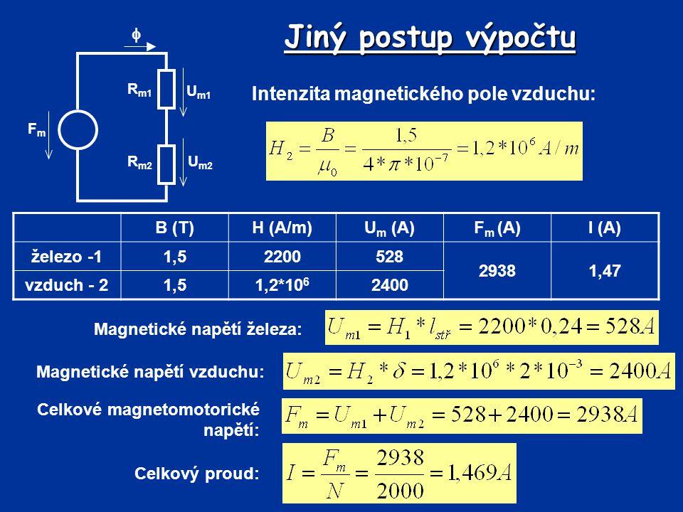 Jiný postup výpočtu Intenzita magnetického pole vzduchu:  B (T)