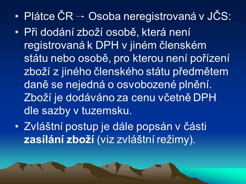 Plátce ČR Osoba neregistrovaná v JČS: